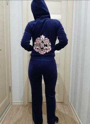 Велюровые спортивный костюм прогулочный костюм синего цвета от juice couture