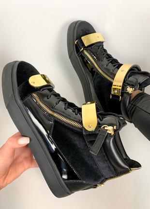 Женские высокие кроссовки лаковые + велюровые giuseppe zanotti черные