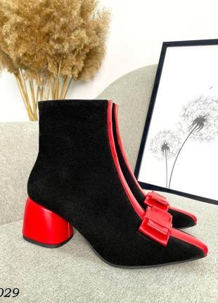❤ женские черные весенние демисезонные замшевые ботинки ❤