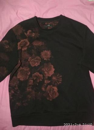 Чёрный свитшот с цветами от oodjj