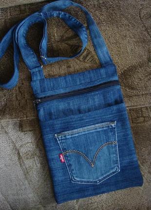 Джинсовая сумка через плечо текстильная