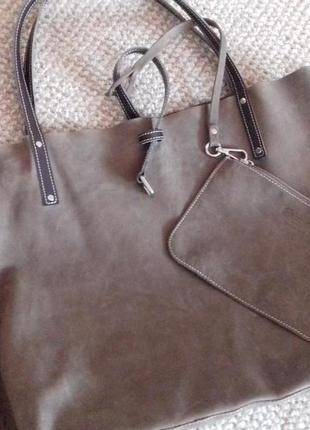 Суперська шкіряна  сумка-шопер дорогого бренду  gasmani milano