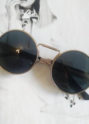 Круглые очки гоглы с пружинами чёрный в серебре