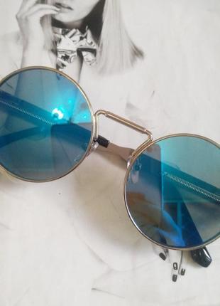 Круглые очки гоглы с пружинами голубой в серебре