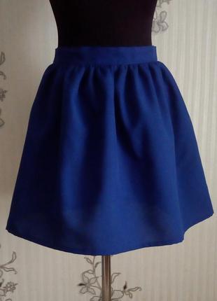 Новая синяя, электрик юбка в сборку размер s m l.