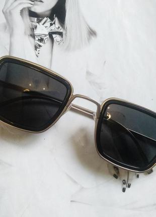 Солнцезащитные стильные очки в металлической оправе чёрный в серебре