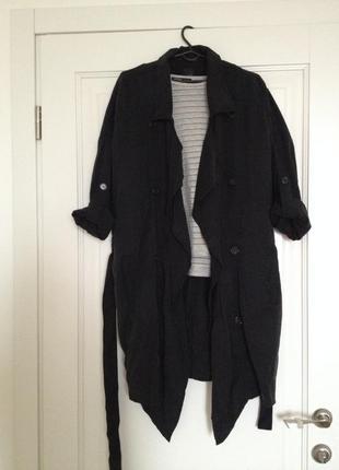 Тренч promod black flowy trench coat