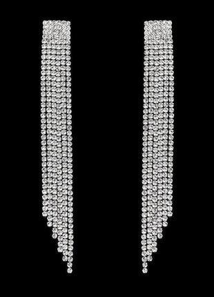 Серьги блестящие длинные серебристые с камнями стразы винтаж