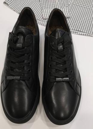 Кожанные туфли утеплены мехом