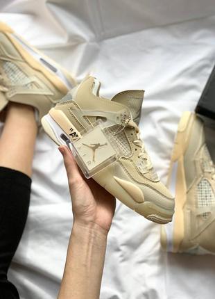 Женские бежевые кожаные кроссовки off-white x nike air jordan 4 sp 'sail'