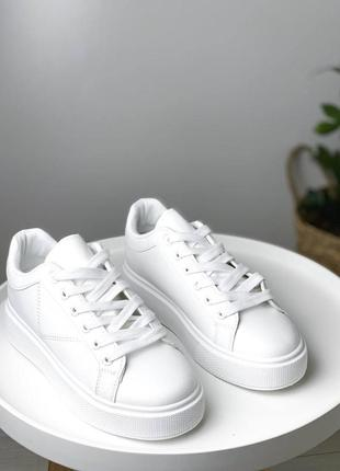 Кроссовки кроссы кеды криперы белые с белой подошвой платформой