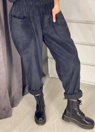 Вельветовые брюки мом бананы штаны