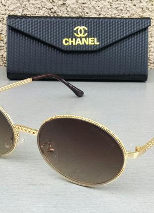 Chanel очки женские солнцезащитные овальные модные коричневые в золоте