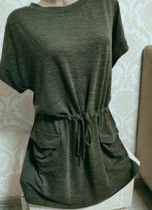 Стильное красивое платье ,цвет хаки