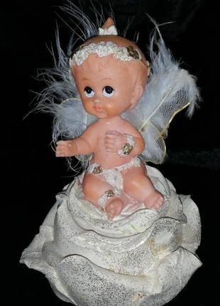 Статуэтка ангел, ангелочек, ребенок, фигурка, шкатулка, сундук