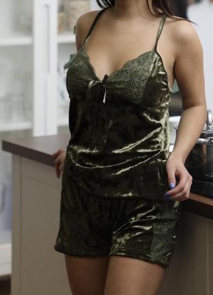 Кружевная женская пижама велюр