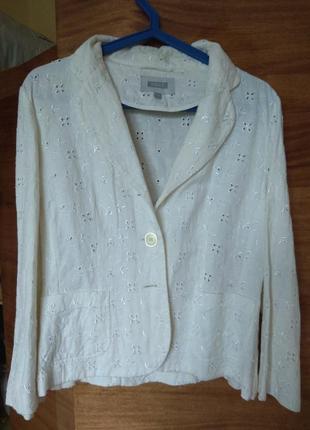 Пиджак жакет ришелье ажурная вышивка размер 12- лен