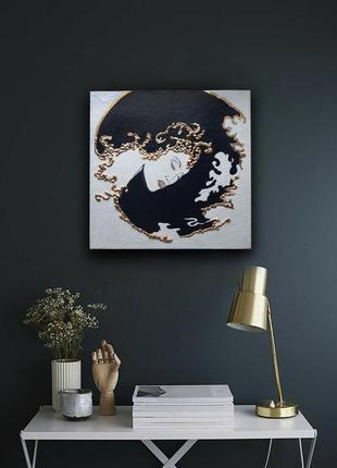 Интерьерная картина 3d золотая поталь