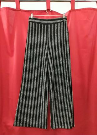 Нарядные широкие штаны с люрексом высокая посадка