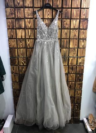 Выпускное серое платье в пол