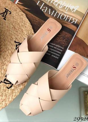Шлепанцы мюли закрытые плетеные на маленьком каблуке эко кожа