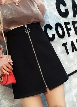 💥распродажа💥замшевая юбка с молнией черная мини короткая с колечком
