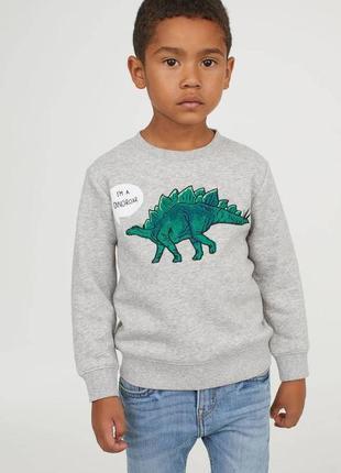 Стильный утепленный свитшот, толстовка, кофта с динозавром на мальчика, h&m