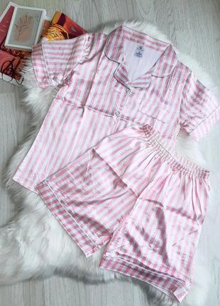 Трендовая атласная пижама рубашка шорты в полоску