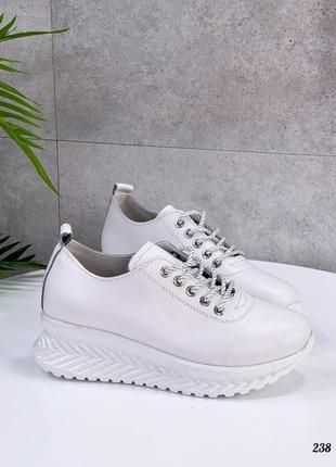Купить кожаные женские демисезонные кроссовки белого цвета