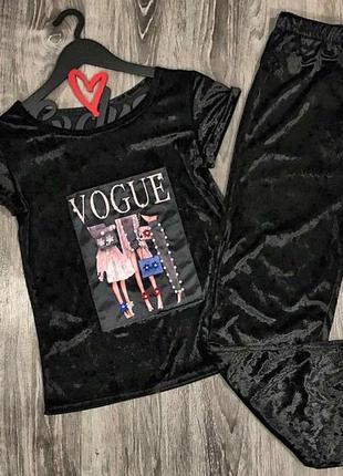 Пижамы женские, костюм для дома велюровый футболка и штаны.