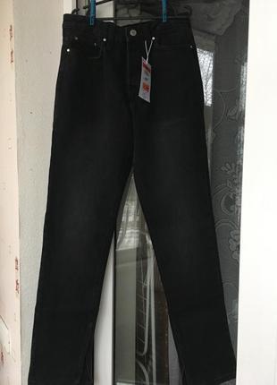 Чёрные джинсы с разрезами внизу графитовые прямые