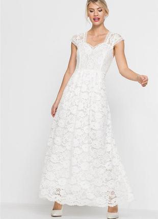 Кружевное платье макси, цвет кремовый