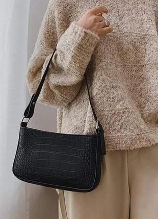 Сумка багет на плечо тренд 2021 сумочка винтажная с ручкой стильная
