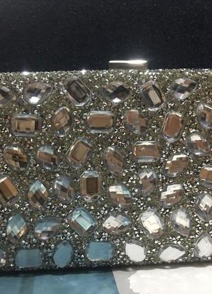 Вечерний шикарный клачт сумочка, вечерний аксессуар камни,серебряный клатч на цепочке
