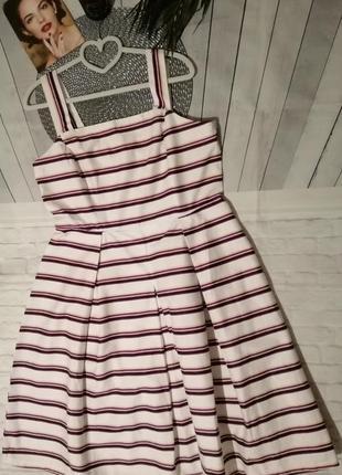 Коттоновое белое платье в полоску миди сарафан с клиньями