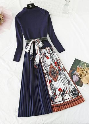 Платье теплое, красивое, трикотажное