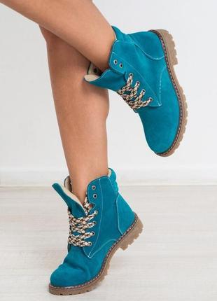 Ботинки бирюзовые голубые