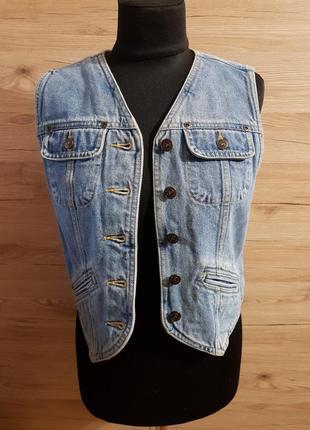 Классическая джинсовая жилетка liz claiborne!