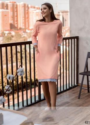 Платье домашнее хлопок с кружевом