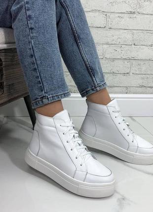 Ботинки высокие кеды натуральная кожа