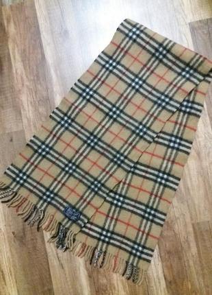 Тёплый стильный шерстяной шарф burberry, англия