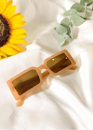 Крутые очки прямоугольные узкие солнцезащитные квадратные ретро винтаж окуляри квадратні