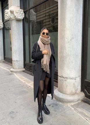 Розкішне шерстяне пальто zara, двубортное шерстяное пальто оверсайз, шерсть