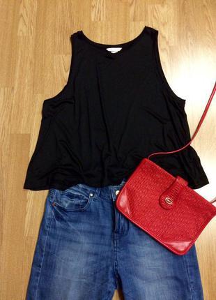 Черная базовая фирменная майка h&m basic,летняя маечка+подарок ремешок