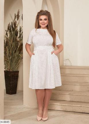 Платье белое в горошек