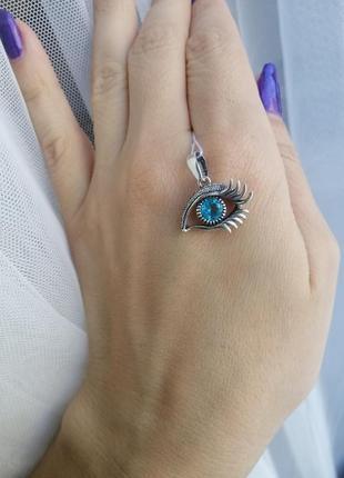 Підвіска срібна око з вставками кубічного цирконію