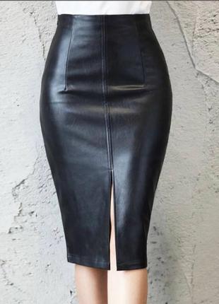 Базовая юбка из эко-кожи