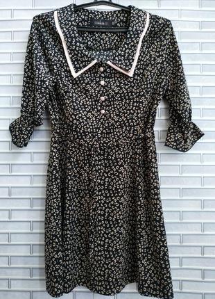 💟новое платье трапеция minauk тигровый принт с воротником
