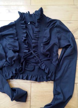 Черное болеро с длинным рукавом на завязках