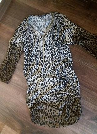 Платье-туника с леопардовым принтом